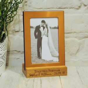 Copper Photo Frame with Personalised Solid Oak Stand Wedding Gift